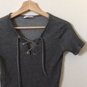 { Zara } lace up front ribbed top